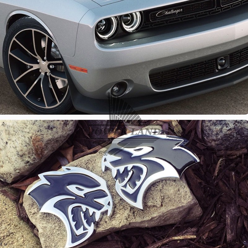 2PC Car Styling Black&Chrome Metal 3D Hellcat Decal Emblem Rear Badge Sticker for Dodge Challenger Charger Ram Chrysler Boot цена и фото