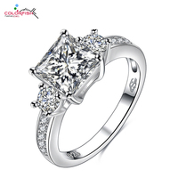 COLORFISH Women 2 Ct Square Cut Ring Three Stone 925 Sterling Silver Cubic Zirconia Engagement Wedding