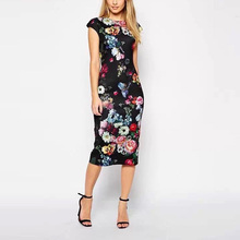 New Fashion Summer Women Dresses Elegant Floral Printed Dress Lady Temperament Charm Slim Dress Casual Sleeveless Dress AA8062