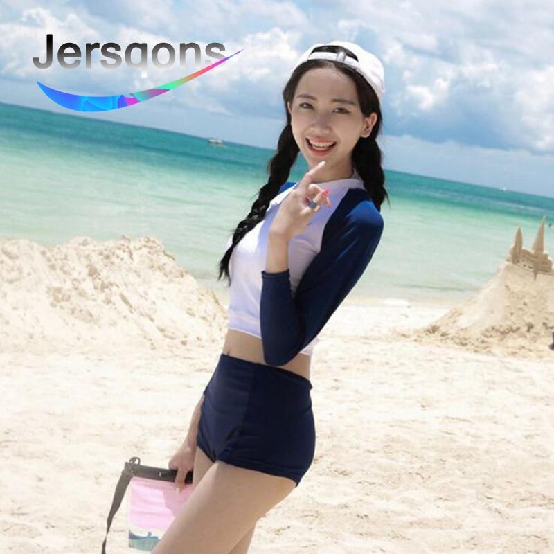 Jersqons Women Sexy Long Sleeve Rash Guard Swimwear 2019 New Swimming Suit Surfing Bathing Beachwear