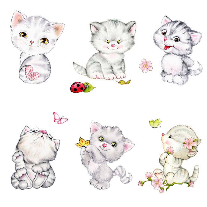 Cute Cats Decorative Switch Wall Stickers For Cup Computer Phone Decor DIY Home Living Room PVC Kitten Wall Mural Art Decoration in Wall Stickers from Home Garden