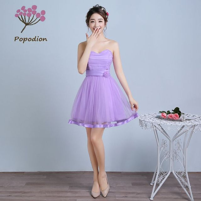 7bee247039 purple strapless bridesmaid dresses short ball grown dress for wedding  guests sister party formal dress prom dresses ROM80057