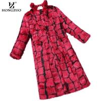 HONGZUO New Arrival 2017 Faux Fox Fur Coat Black Red Plaid Korean Style Fashion Women X Long Fur Coat Jacket Overcoat PC178