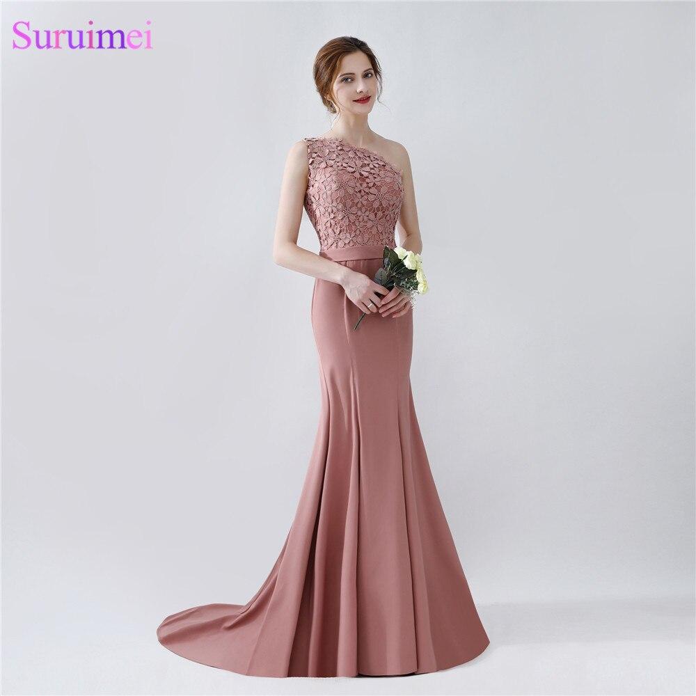 Elegant Long Mermaid Blush Brown Bridesmaid Dresses One Shoulder Floor Length Brides Maid Dress With Sash On Sale