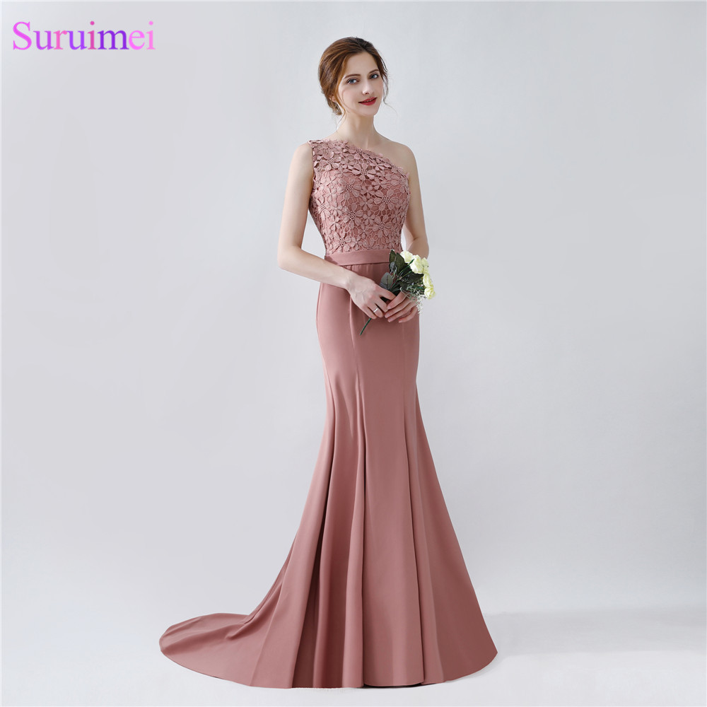Elegant Long Mermaid Blush Brown Bridesmaid Dresses One ...