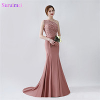 Elegant Long Mermaid Blush Brown Bridesmaid Dresses One Shoulder Floor Length Brides Maid Dress with Sash On Sale