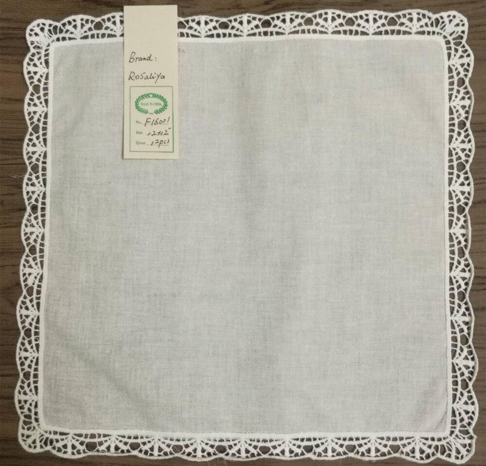 Se Of 48 Fashion Women Cotton Handkerchiefs 12-inch Wedding Hankerchief Vintage Lace Hanky Sweet Heart Hankies For Bride/Ladies