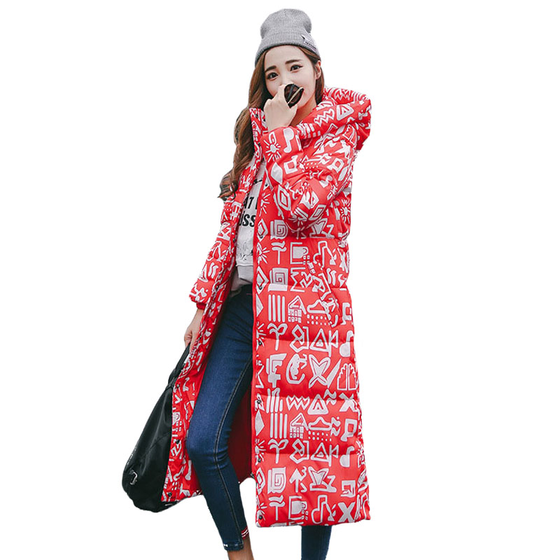 Women Jacket Winter Long Slim Parka Thicken Warm Print Patterns Long Sleeve Hooded Cotton Padded Coat Women's Quilted Jackets warm thicken baby rompers long sleeve organic cotton autumn