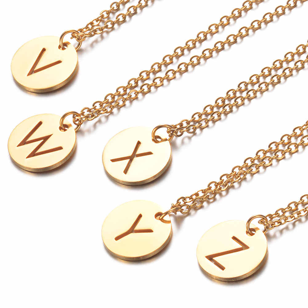 AAAAA Super Quality A-Z Initial Name Necklace 100% Real Stainless Steel Gold Filled Alphabet Letter Pendant Necklaces Wholesale