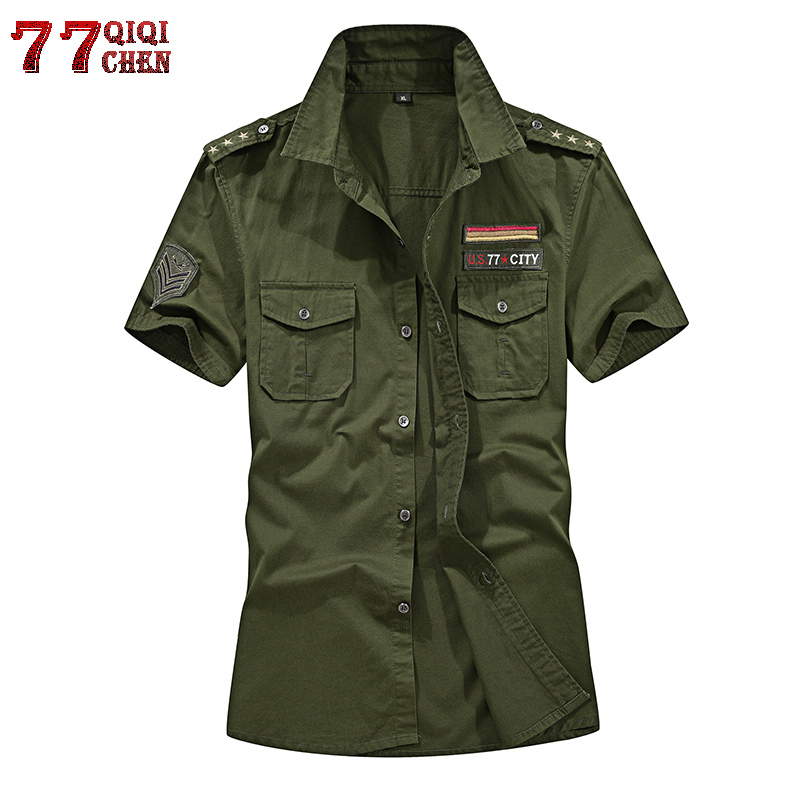 QIQICHEN High Quality 2018 Summer Military Shirts Men Cotton Short Sleeve Casual Slim Fit Air Force One Shirt Men Plus Size 6XL