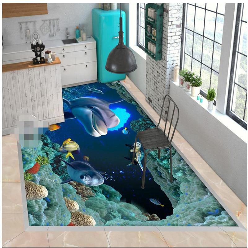 beibehang HD dolphin fish undersea caves Waterproof Bathroom kitchen balcony PVC Wall paper Self wall sticker Floor mural