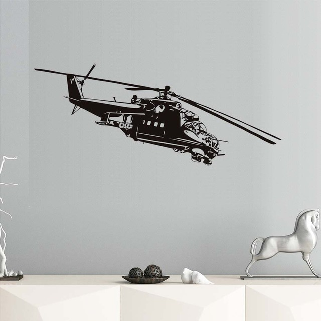 Helicopter Wall Stickers Airplane Vinyl Art Wall Decals Removable ...