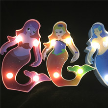 New 3D Painted Mermaid Sleep Night Lamp Cartoon AAA Battery Led Light For Kids Romantic Decor Home Lighting