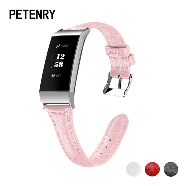 US $9 38 29% OFF|PETENRY Strap Bands for Fitbit Charge 3 Genuine Leather  Women Men Bracelet Wristbands for Fitbit Charge 3&3 SE Watch Accessories-in