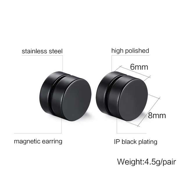 Magnet Clip Round Stud Earrings Black Magnetic punk cool rock hiphop Men charms Women Free Shipping.jpg 640x640 - Magnet Clip Round Stud Earrings Black Magnetic punk cool rock hiphop Men charms Women Free Shipping Lovely gift Fashion jewelry
