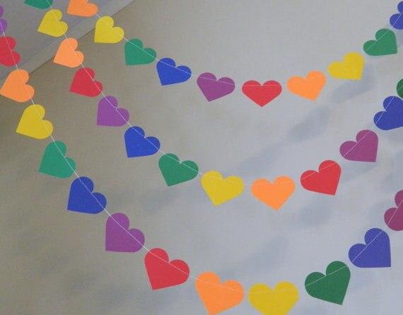Rainbow Paper Heart Garland 10ft Wedding Decor Kids