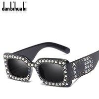 Danbihuabi Retro Pearl Rivets Square Sunglasses Women Men Brand Design Steampunk Goggle Black Sun Glasses For
