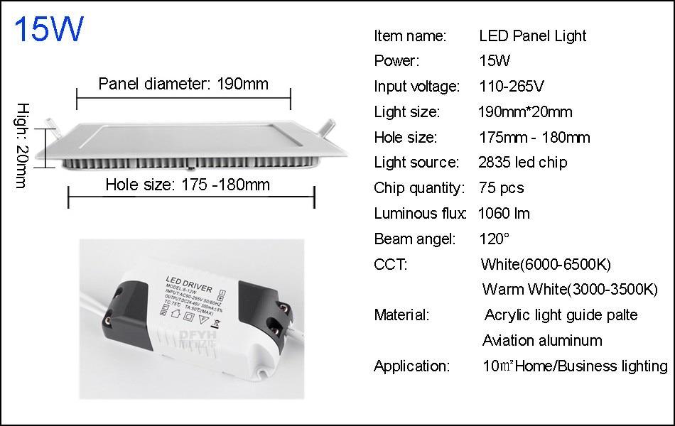 25W Square LED Panel Light Recessed Kitchen Bathroom Ceiling Lamp AC85-265V LED Downlight Warm WhiteCool White Free shipping (20)
