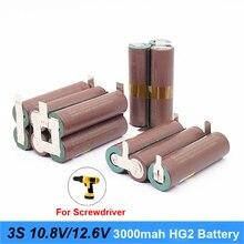 Аккумулятор 18650 hg2 3000mAh 20 ампер для 10,8 v 12,6 v отвертка батарея сварные полоски для пайки 3S 3S2P 12,6 v батарейный блок(на заказ