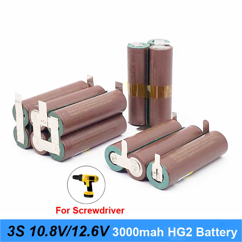 Battery 18650 hg2 3000mAh 20amps for 10.8v 12.6v screwdriver battery weld soldering strip 3S 3S2P 12.6v battery pack (customize)