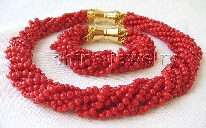 Collier et bracelet en corail rouge naturel de P2916-Beautiful AAA 18