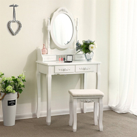 White Vanity Makeup Dressing Table Set with Stool 4 Drawer & Mirror Makeup Desk Bedroom Furniture Dressers FR Shipping HWC
