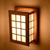 Японский стиль бра краткое современный китайский стиль лестничные балкон дерево лампы прикроватные бра журнала