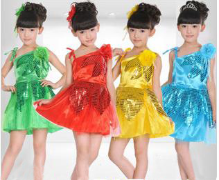 Huge Savings 12pieces/dozen children's costumes girls performing apparel modern sequined veil princess Dress dance  clothing
