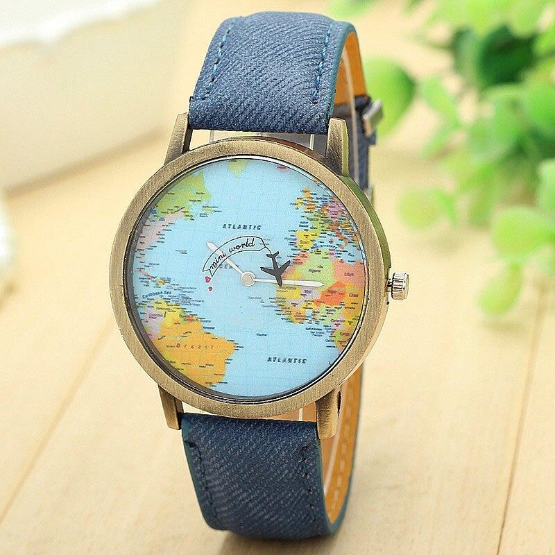 2016 New Fashion Watches Women Global Travel By Plane Map Dress Denim Fabric Band Wristwatches Bangle Bracelet