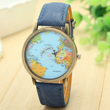 New Women Dress Watches,Fashion Global Travel By Plane Map Denim Fabric Band Watch Women 7Colors Relogio Masculino wholesale