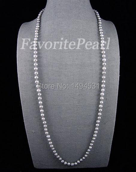 Pearl Necklace - AA 8-9mm Gray Freshwater Pearl Necklace 48 Inches Long Jewelry Wholesale Lady's Jewelry