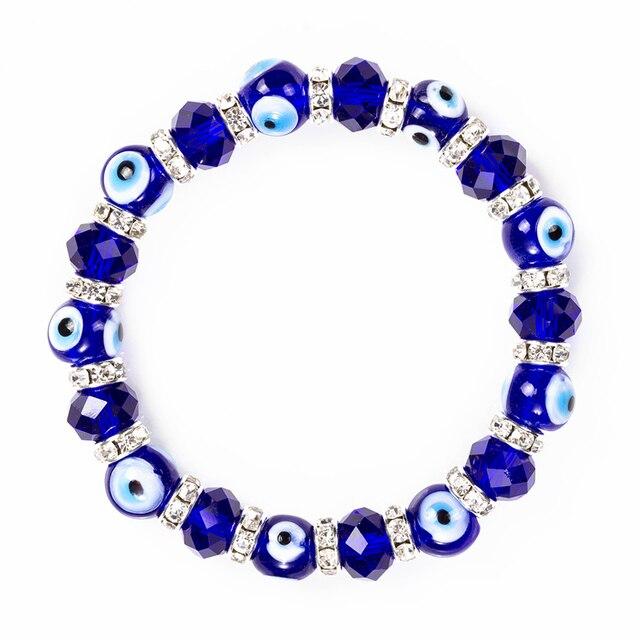Pulsera con cuentas de cristal de la suerte para hombre y mujer, brazalete con abalorios, diseño de ojo malvado, azul, herradura, oración turca, EY5226