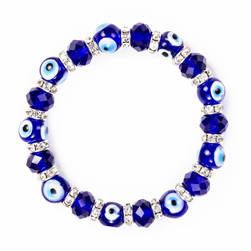 Wish Card Blue Evil Eyes Lucky Glass Beads Bracelet For Women Men Jewelry Horseshoe Turkish Prayer Strand Bracelet Gift EY5226