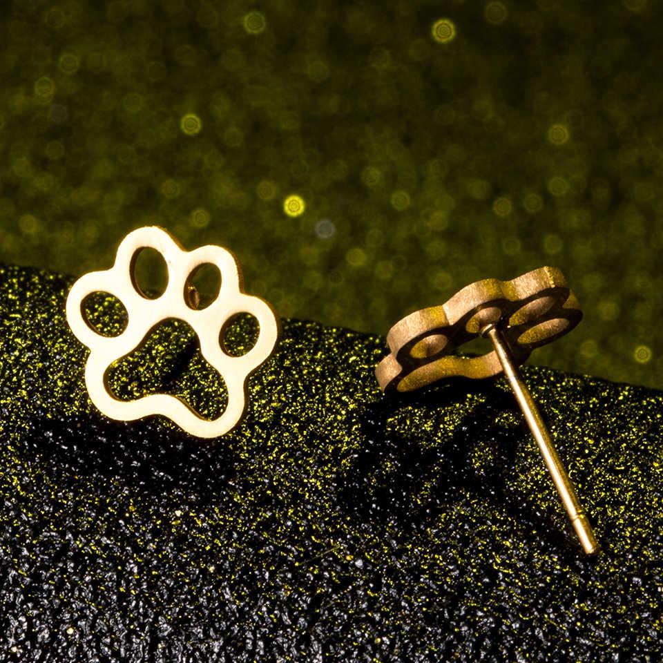 Несколько 2018, модные минималистичные золотые и серебряные серьги-гвоздики из нержавеющей стали с животными, серьги гвоздики, ювелирные изделия для женщин, подарки