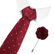 2019 Classic 100% Silk Mens Ties New Design Neck 8cm for Men Formal Business Wedding Party Necktie and brooch set