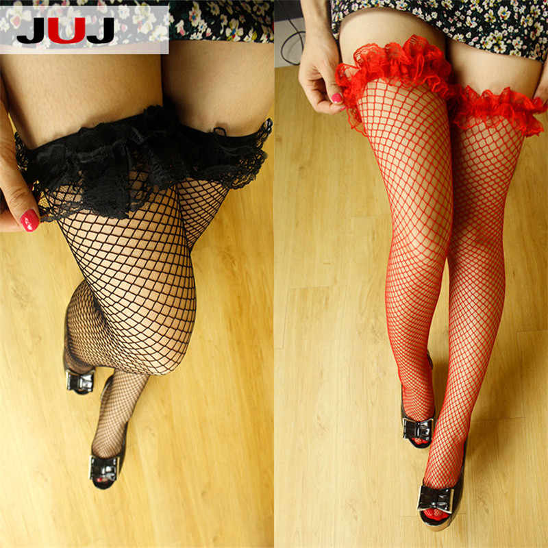 Sexy Women's Hosiery Lace Top Stay Up Thigh High Stockings Ladies Hollow Mesh Nets Lace Fishnet Stockings Pantyhose