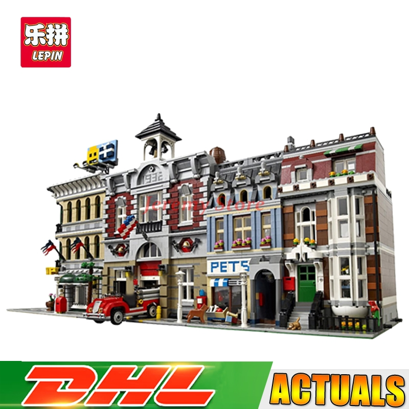 Lepin Street View Series 15004+15005+15009 Educational Building Blocks Bricks Model Toys Christmas Gifts 10197 10211 10218 lepin 15009 city street pet shop model building kid blocks bricks assembling toys compatible 10218 educational toy funny gift