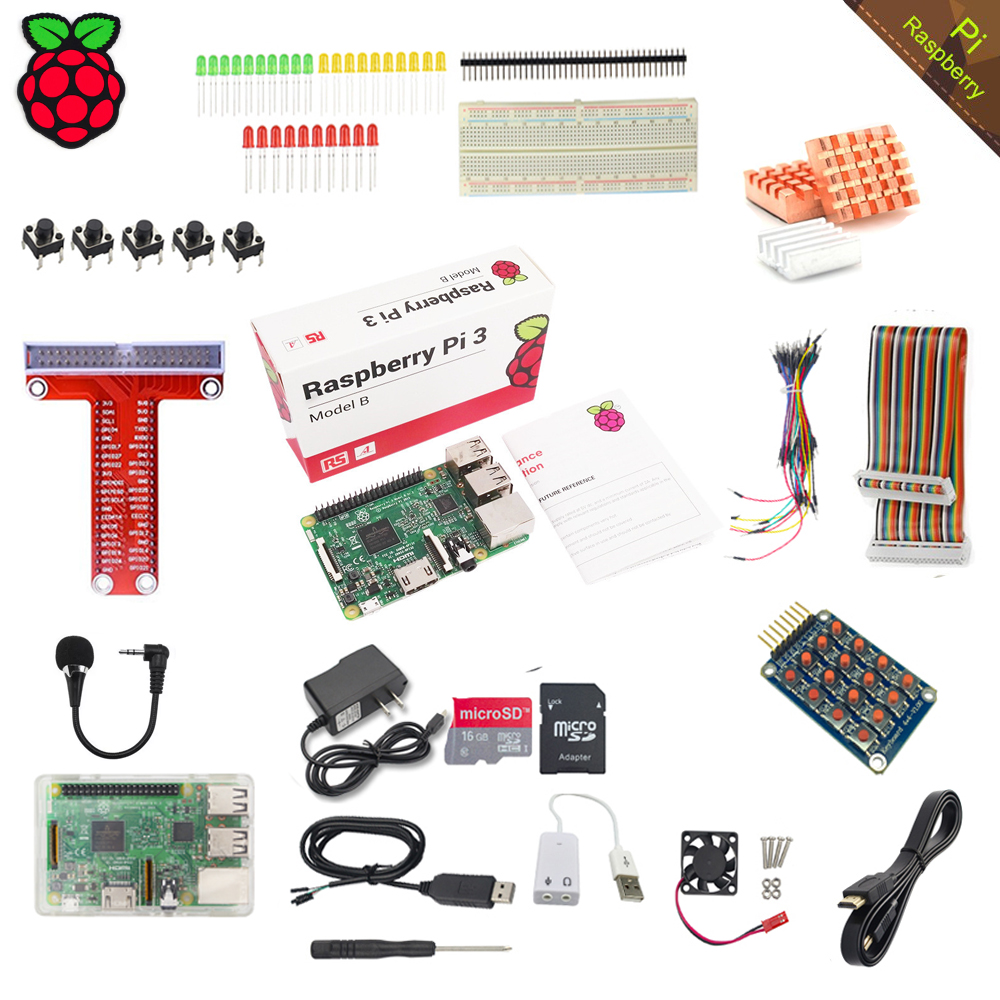 RS Raspberry Pi 3 Model B with Starter Learning Kit+16GB TF Card+2.5A Power Supply+Acrylic Case for Raspberry Pi the advanced learning kit for raspberry pi