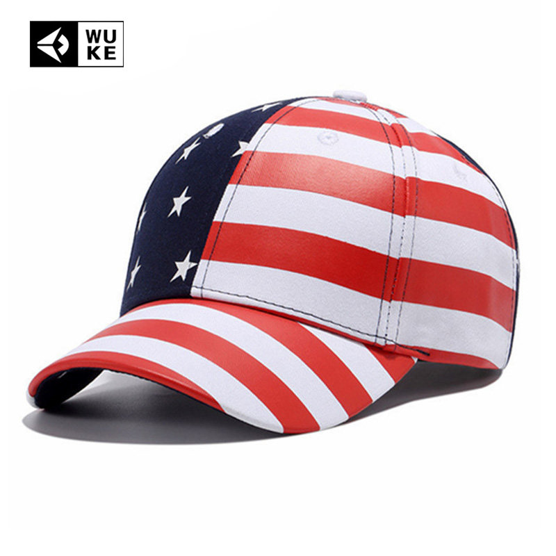 Wuke Brand New USA   Baseball     Cap   America Flag Hat Bone Gorras Beisbol Casual Strapback For Men Women   Caps   Wholesale Dropshipping