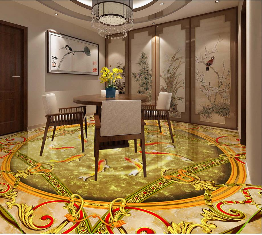 3d floor painting wallpaper Nine fish figure marble 3d floor wallpaper for bathroom waterproof 3d flooring 3d wallpaper custom 3d flooring painting wallpaper murals nine fish 3d stereograph floor pebbles lotus leaf room photo wallpaper