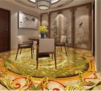 3d floor painting wallpaper Nine fish figure marble 3d floor wallpaper for bathroom waterproof 3d flooring
