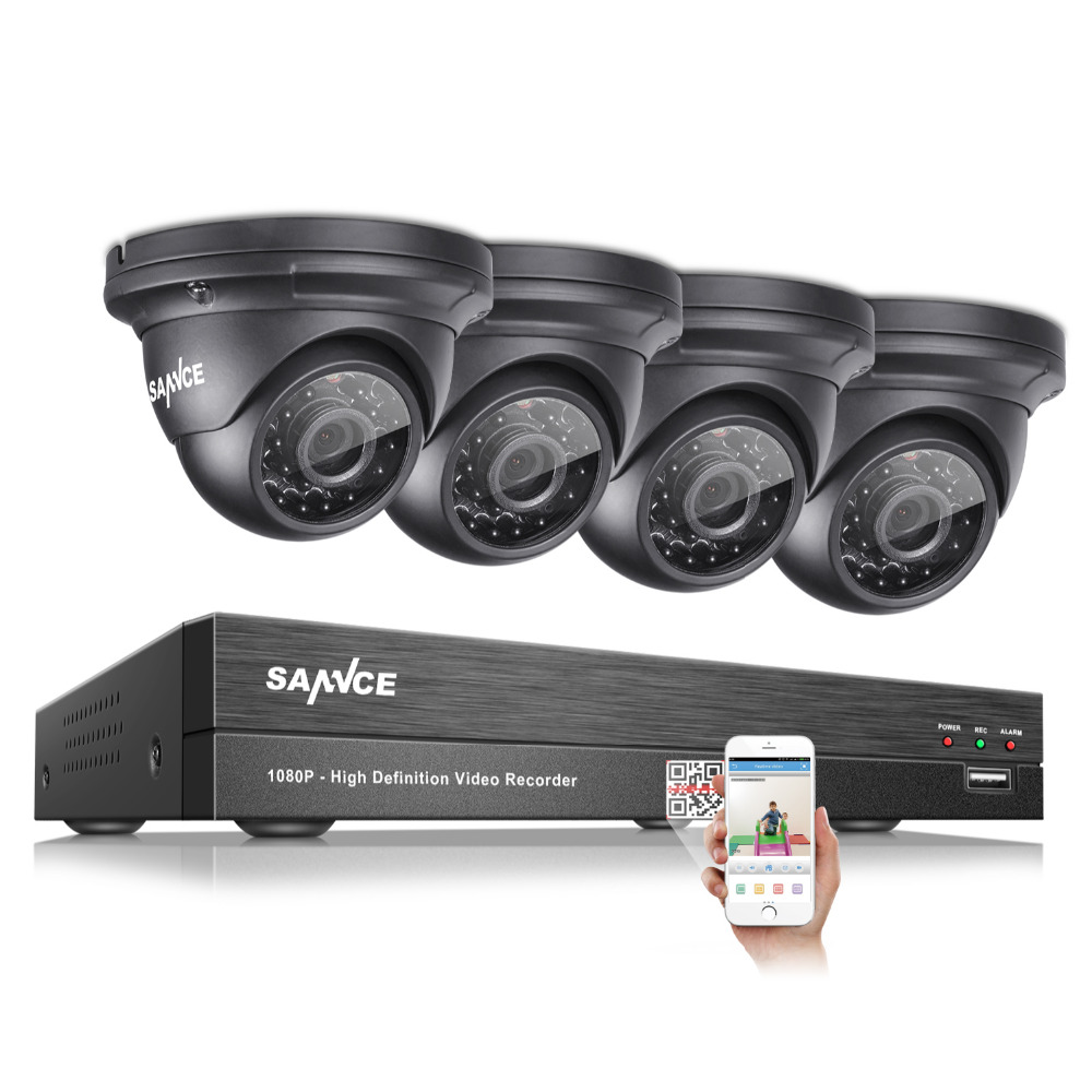 SANNCE 2.0MP 1080P HD 4 Channel DVR AHD Surveillance Kit 4PCS 3000TVL Outdoor Home Security IR Night Vision Camera CCTV System sannce 8ch 720p ahd dvr 4pcs 1200tvl ir night vision outdoor cctv camera 24 leds home security cctv system surveillance kit