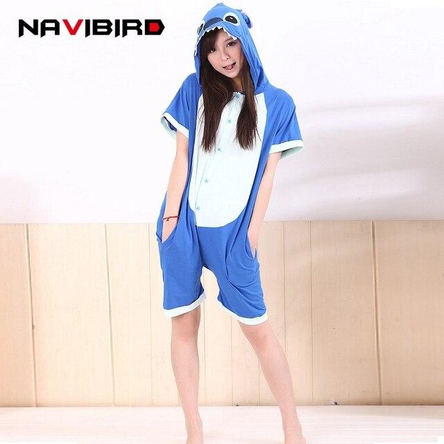 bd8416836579 Adult Onesie Blue Stitch Lilo Kigurumi Women Summer Animal Home Sleepwear  Cotton Short Sleevesd Kigurumi Pajamas Onesies Pyjama