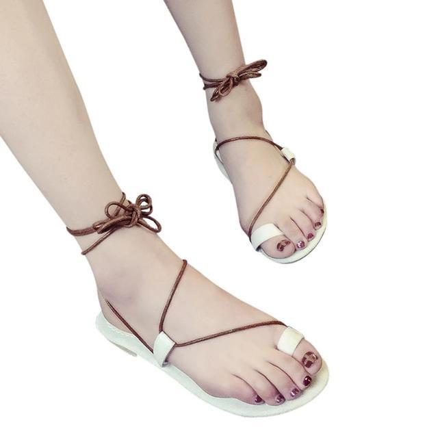 Sandale Femme 2018 été Qualité Supérieure Chaussure Elégant Rétro Classique Sandales Confortable Couleur unie Doux 35-39 oePF5Mt0C