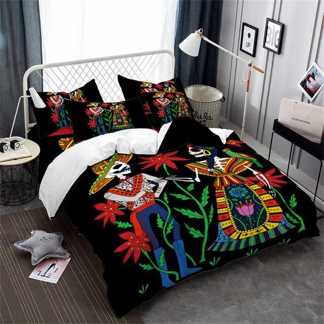 boho man women skeleton bedding set colorful flowers duvet cover skull print halloween quilt cover pillowcase