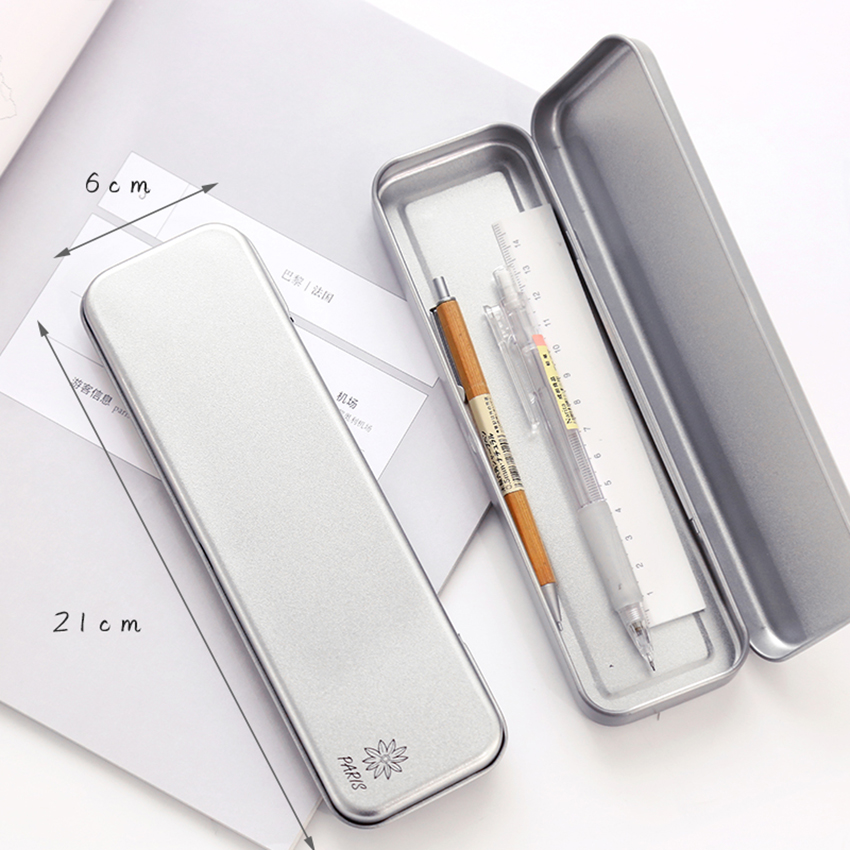 1PC Iron Stationery Box Tin Pencil Box School Student Gift Cartoon Pencil Case Silver Pen Pencil Holder Container Multifunction