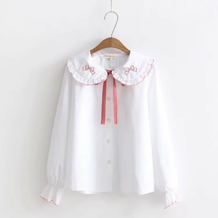 Women's Clothing Dynamic Kyqiao Japanese School Uniform Lolita Costumes 2019 Mori Girls Autumn Peter Pan Collar Long Sleeve Bowknot Pattern Blouse Shirt Punctual Timing