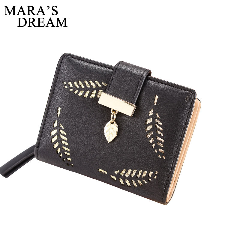 Mara's Dream 2018 Luxury Women Wallet Cute Leaf Purse Female Hollow Leaves Small Wallet Short Coin Card Holder Ladies Clutch Bag 2017 hottest women short design gradient color coin purse cute ladies wallet bags pu leather handbags card holder clutch purse