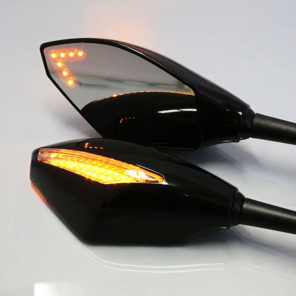 LED Racing RearView Turn Signals Integrated Mirrors Honda CBR Suzuki Bandit HAYABUSA GSXR Kawasaki Yamahaha YZF FZ1 R1 R6 - Motorcycle Parts Retail& Aftermarket store