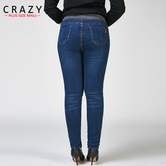 2017 New Plus Size 26-40 Women Skinny Pencil Pants For Female Autumn High Waist Elastic Skinny Denim Jeans C9813